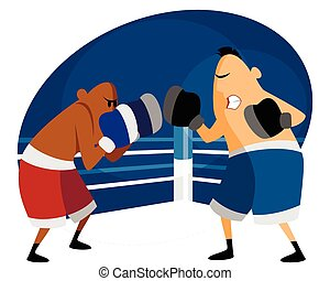 Two boxers on the ring