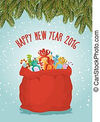 Happy new year. Santa big bag full of presents. Childrens...
