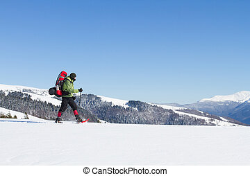 Winter hiking in the mountains