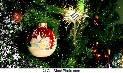 Christmas ball and Burning sparkl - Christmas ball and...
