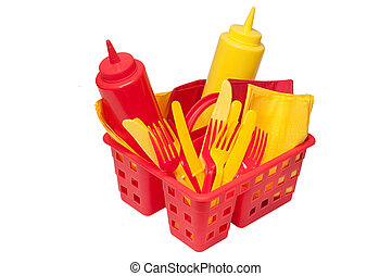 Picnic Items - Ketchup, mustard, forks, knives, and napkins...