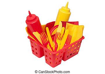 Picnic Items - Ketchup, mustard, forks, knives, and napkins...