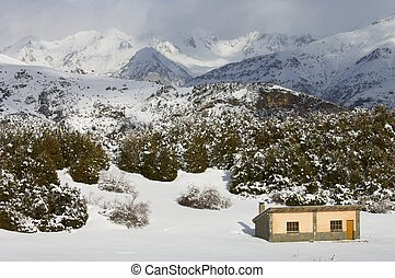 mountain hut - small mountain hut in the Pyrenees, Spain