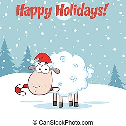 Funny Christmas Sheep Cartoon Character