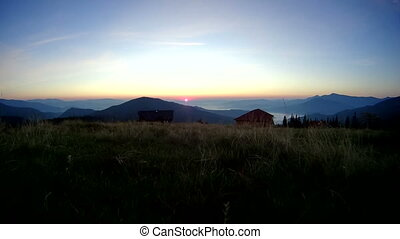 Sunrise in Carpathians with view of Hoverla and Petros -...