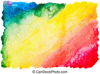 colorful watercolor rainbow background isolated on white...