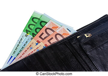 Wallet with Euro notes isolated over white background.