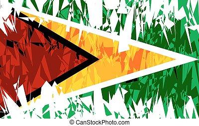 Flag of Guyana - Flag of Guyana in grunge style Vector...