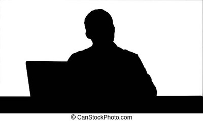 Silhouette Male doctor talking with patient track matte....