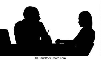 Silhouette Smiling doctor talking with patient track matte....
