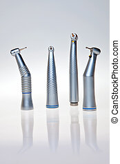 Dental drill tools isolated over white background.