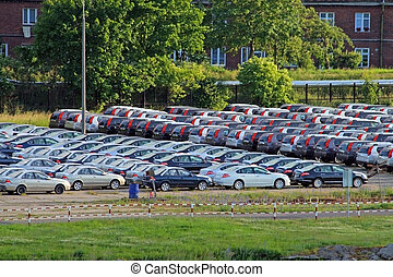 Parking with lot of cars - Parking at the harbour with lot...
