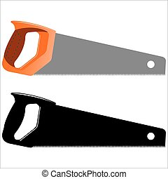 hacksaw - hand saw sawing on a white background vector