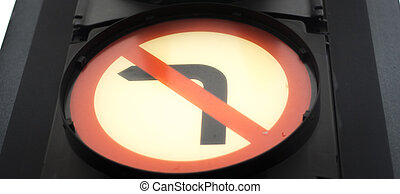 Traffic road sign no left turn - Traffic road sign arrow in...