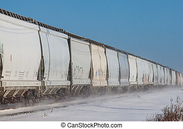 Line of Rail Cars in Snow - Long line of rail cars in winter...