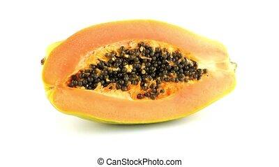 Fresh and tasty papaya on white background.