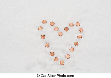 Love that cold cash - Pennies in the snow in the shape of a...