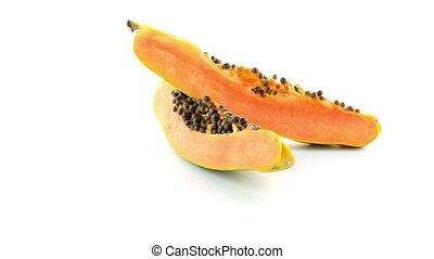 Slices of sweet papaya on white background.