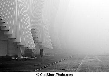 rail station by calatrava in fog - rail station of reggio...