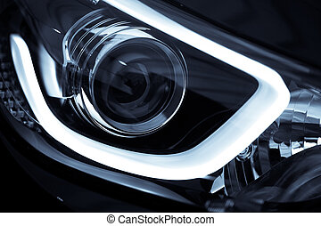 Car LED headlight - Detail on one of the LED headlights of a...