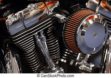 Motorcycle engine - Color detail of the engine of a...