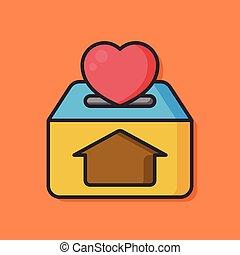 Donate love vector icon