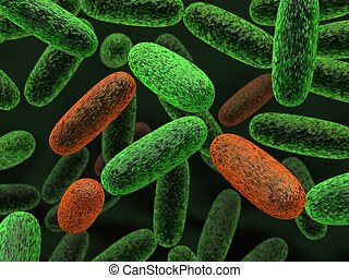 Bacteria - 3d rendered green and red bacteria illustration