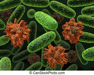 transformed bacteria - 3d rendered bacteria illustration...