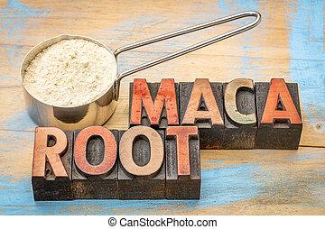 scoop of maca root powder - maca root powder on a metal...