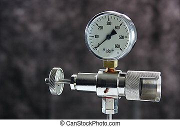 Manometer - Macro of a manometer isolated on grey background...