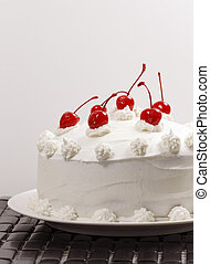 cherry cake - beautiful vanilla cake with cherry on the top