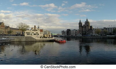 City scenic in Amsterdam Netherland - Amsterdam with the St...