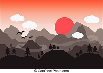 Flat landscape with mountains over the sun.