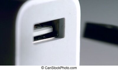 Plugging USB  - Plugging usb cable into port close-up