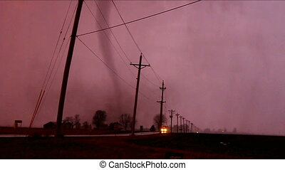 Tornado Thunderstorm Illinois - Tornado narrowly misses...