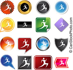 Runner Icon - Runner stick figure isolated web icon on a...