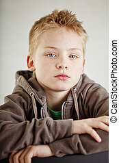 Portrait of serious looking boy - Portrait of serious...
