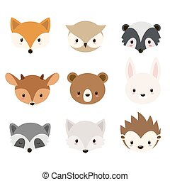 Cute woodland animals collection. Vector animals heads...