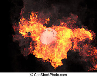 Ball in fire Sphere in fire Fire On fire 3d render
