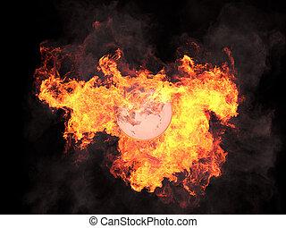 Ball in fire Sphere in fire Fire On fire 3d render