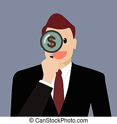 Businessman looking for money future through a magnifying glass