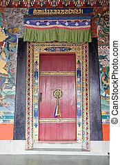 Door at the Rumtek Monastery, Sikkim, India. Rumtek...
