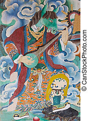 Painting at the Rumtek Monastery, Sikkim, India. Rumtek...