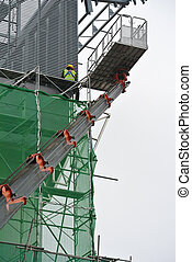 Using the mobile crane basket - Construction workers using...