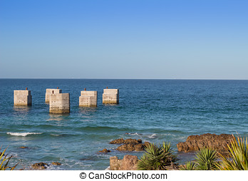 Old pier at Humewood beach Port Elizabeth South Africa