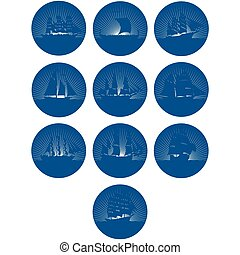 Badges with sailing ships