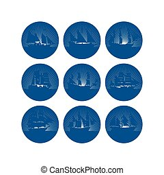Badges with sailing ships-1