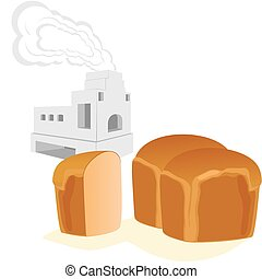 Bread and Russian stove for cooking and heating homes. The...