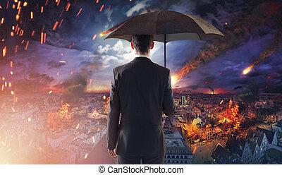 Pojęcie, nieszczęście, meteoryty, ekologia, spadanie, Albo,...