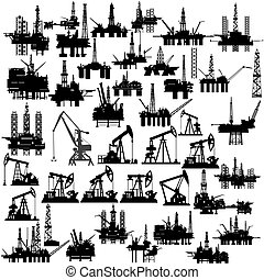 Oil platforms and oil pumps - Set of abstract oil pumps,...